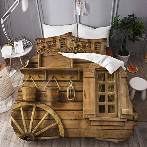 Juego de funda nórdica para ropa de cama, 3 piezas, funda de edredón con 2 fundas de almohada, rueda de carro antigua occidental, madera rústica, linterna vintage, ventana, cubos, colcha de cama de mi