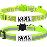 TagME Cat Collars Quick Release with Name Tag, Personalised Reflective Kitten Collar with Bell & Safety Release, 2 Pack Green