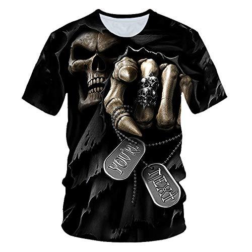 Sunofbeach Unisex 3D Printed T Shirt Zomer Gepersonaliseerde Casual T-shirt met korte mouwen Tops, Grijze Mantel Schedel Grappige Gotische T-Shirts Voor Mannen Vrouwen