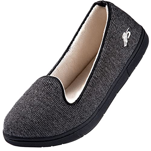 Wishcotton Womens Cozy House Slippers, Memory Foam House Shoes with Closed Back, Dark Grey, 8 M US
