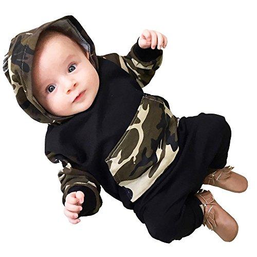 Covermason Covermason Baby Jungen Camouflage Kapuze Tops Kapuzenpullover + Hosen Bekleidungssets (70 (6Monate), Armeegrün)