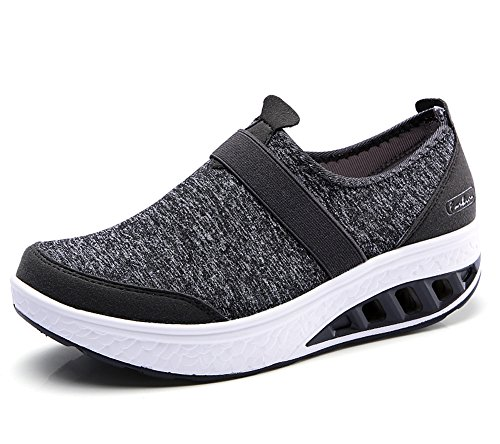 lovejin Mujer Adelgazar Zapatos Sneakers Deporte Cuña Zapatos Plataforma Sneakers Caminar Fitness Transpirable