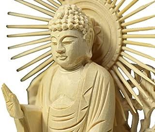 Buddha-Amitabha Standing Statue Plain Wood Round Pedestal West Type (9.1 H x 4.4 W x 3.2 D inches)