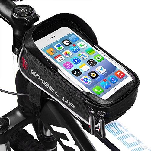 Bolsa Bicicleta Cuadro - WheelUp 6' Soporte Movil Bicicleta - Impermeable Bolsa Bici Manillar de Teléfono Celular con Pantalla Táctil Alforjas para Bicicleta Montaña o Carretera (Negro y Gris)