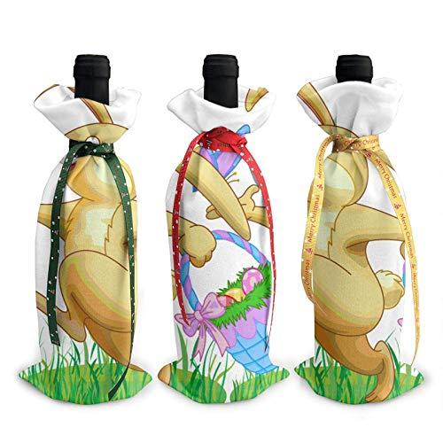 Bolsas de la cubierta de la decoración de la cubierta de la botella de vino impresa del conejo de Pascua, para las fuentes del partido de la degustación de vinos de Navidad