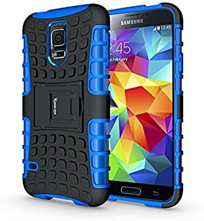 Case for Samsung Galaxy S5,Heavy Duty Rugged Dual Layer Shockproof Hybrid Case for Samsung Galaxy S5 SV I9600 with Built-in Kickstand (Blue)