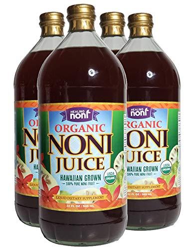 Healing Noni - 100% Pure Organic Hawaiian Noni Juice - 4 Pack of 32oz Glass Bottles