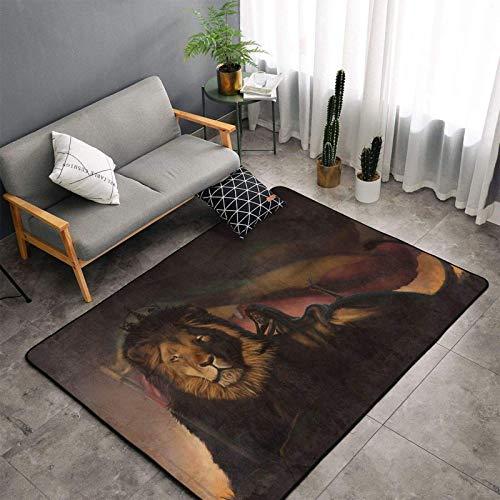 Xiaomo Rasta Lion of Judah Reggae Alfombra de área Moderna para decoración de Salas de Estar Alfombra Antideslizante y Lavable 60 x 39 Pulgadas