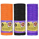 3 Pack Crafter's Corner Decorative Mesh - Black, Purple and Orange with Metallic Strands - 6 in. x 5 yds Each