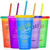 Reusable Cups with Lids and Straws - 5 Iced Coffee Cups with Lids, Plastic Tumblers with Lids and Straws, Plastic Cups with Lids and Straws, Travel Cup with Lid and Straw, Cold Cups with Lid and Straw