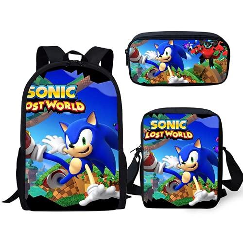 Amacigana Sonic - Juego de mochila y estuche para adolescentes (3 piezas, 2 L)