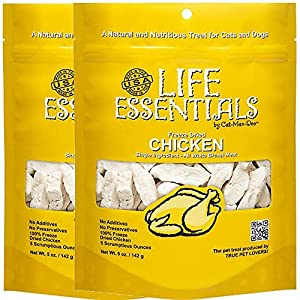 All-Natural Freeze Dried Chicken Treats for Dogs & Cats No Grains, Fillers, Additives and Preservatives Proudly Made in the USA – 2 Pack (5 oz. Bag)