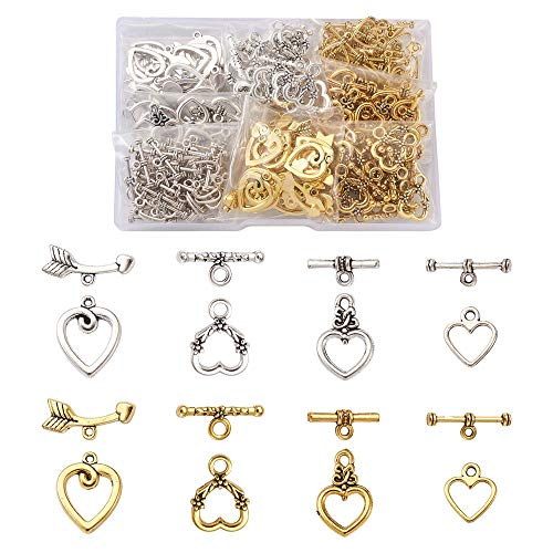 Cheriswelry 150sets Tibetan Heart Toggle Clasps 4 Styles Heart T-Bar OT Closure Craft Clasps Connectors for DIY Jewellery Bracelet Making(Antique Silver & Golden)
