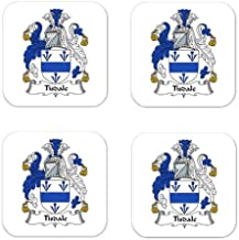 Tisdale Family Crest Square Coasters Coat of Arms Coasters - Set of 4