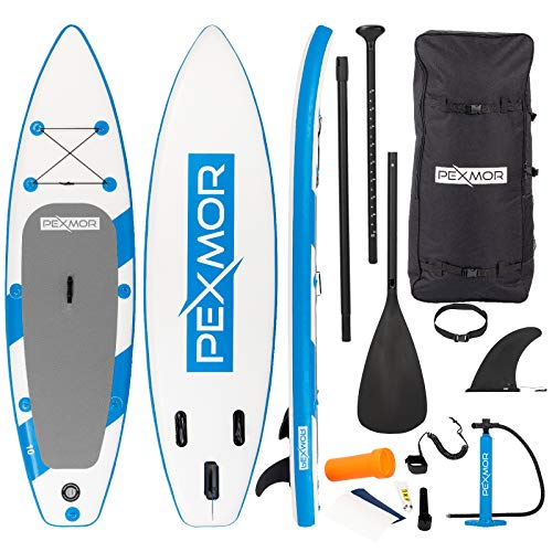 PEXMOR 11' Inflatable Stand Up Paddle Board (6 Inches Thick) with SUP Accessories & Carry Bag | Wide Stance, Bottom Fin for Paddling, Surf Control, Non-Slip Deck | Youth & Adult Standing Boat (32)