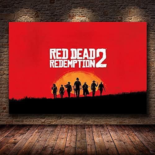Red Adventure Game Redemption Dead Gangster Shootout Arthur Morgan Lienzo Pintura Arte de la pared Poster Boy Fans Dormitorio Sala de juegos Club Decoración para el hogar Mural