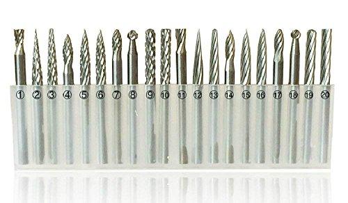 ZJchao 10 Stück Hartmetall Frässtift Set 1/20.32 cm für Dremel Werkzeuge DIY Holzbearbeitung schnitzen gravieren Bohren 20pieces 3mm, Präzisionswerkzeuge für Holz Gravieren Bohren Schnitzen