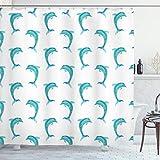 Ambesonne Sea Animals Shower Curtain, Aqua Watercolor Artwork Dolphin Ocean Playful Marine Underwater Theme, Cloth Fabric Bathroom Decor Set with Hooks, 70' Long, Aqua White