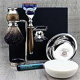 Haryali London - Kit de afeitado para hombre, 6 piezas, 5 filos, con cepillo de afeitar de pelo de tejón, soporte, jabón, alumbre y acero inoxidable juego para hombres
