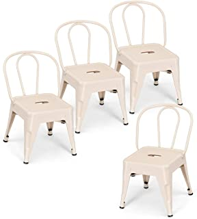 Costzon Set of 4 High Back Kids Metal Stool, Contour School Student Chair, Stackable for Indoor/Outdoor,Preschool, Daycare, Bedroom, Playroom, Iron Furniture Stool for Boys & Girls (Milky White)