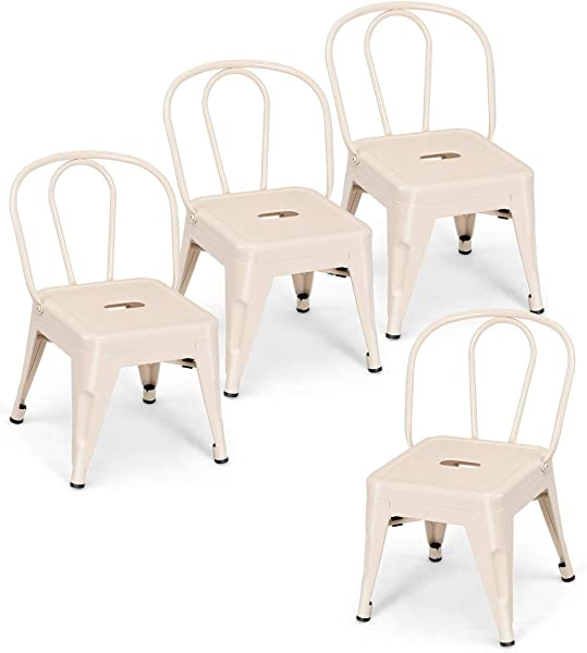 Costzon Set Of 4 High Back Kids Metal Stool Contour School Student Chair Stackable For Indoor Outdoor Preschool Daycare Bedroom Playroom Iron Furniture Stool For Boys Girls Milky White