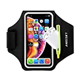 Guzack Water Resistant Cell Phone Running Armband with AirPods Case for iPhone 12/11 Pro/XS/XR/8/7, Galaxy S20/S20+/S20 Ultra up to 6.9', Adjustable Band & Card Key Holder for Running Hiking Biking