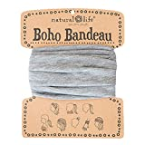 """Natural Life Boho Bandeau Headband - Versatile, Wide, Hairband That Stays In Place, 8 Ways To Wear, The Perfect Accessory - Heather Grey 13.5"""" L x 9"""" W"""