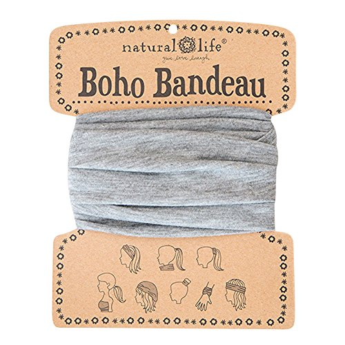 "Natural Life Boho Bandeau Headband - Versatile, Wide, Hairband That Stays In Place, 8 Ways To Wear, The Perfect Accessory - Heather Grey 13.5"" L x 9"" W"