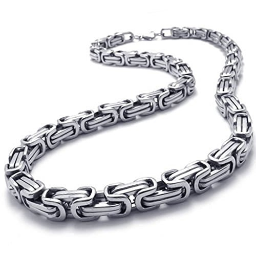 DealMux jewelry cadena para hombre, collar de cadena de rey motorista de acero inoxidable, plateado, ancho 8 mm, largo 55 cm