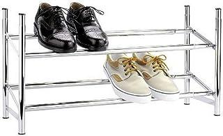 WENKO Étagère à chaussures - télescopique, empilable, 2 étages, pour 10 paires de chaussures, Métal chromé, 64-119 x 35 x ...