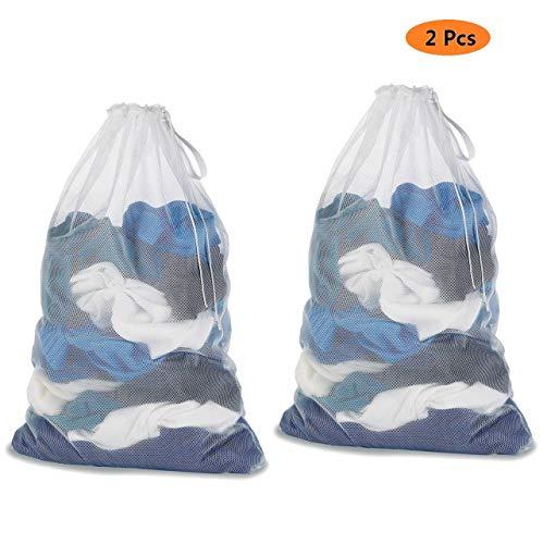 Voarge 2 Stück Wäschenetz, Waschmaschine Wäschesack Wäschebeutel mit Zugkordel, 60 x 90 cm, für Oberbekleidung, Dessous, Socken, Strumpfhosen, Strümpfe und Baby Kleidung