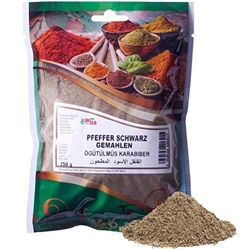 Arba Gewürze - Pfeffer (schwarz) 250g - Pfeffer-Pulver zum Würzen, fein gemahlen, intensives Aroma, Premium-Gewürz zum Kochen, Grillen & Marinieren, schwarzer Pfeffer