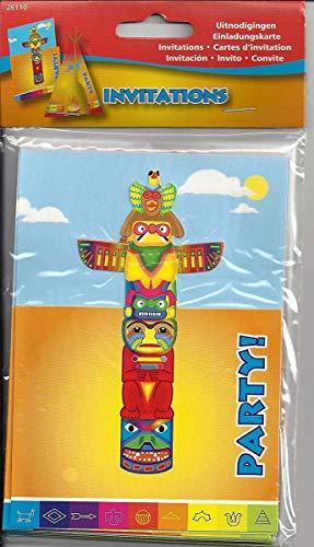 Folat 26110 Décoration d'anniversaire pour Enfant Indien : lot d'invitations, différents Motifs de martres, Wigwam