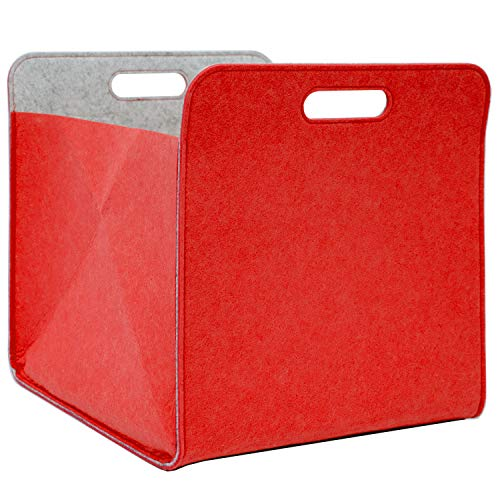 DuneDesign Filt förvaringsbox 33 x 33 x 38 cm kallax filtkorg hylla insats, låda röd
