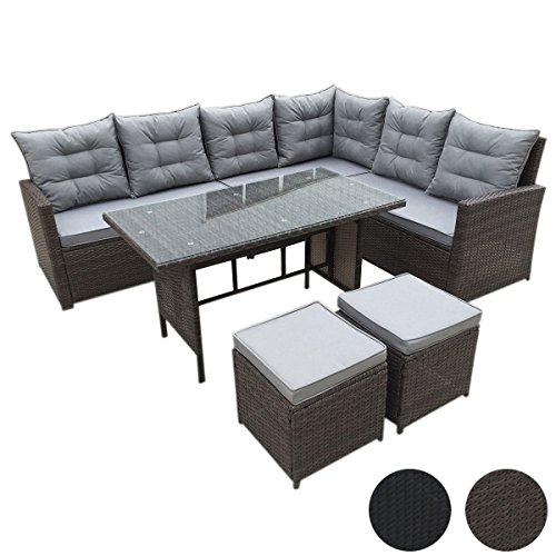 SVITA Monroe Polyrattan Ecksofa Rattan-Lounge Esstisch Gartenmöbel-Set Sofa Garnitur Couch-Eck (Lounge Set, Schwarz)