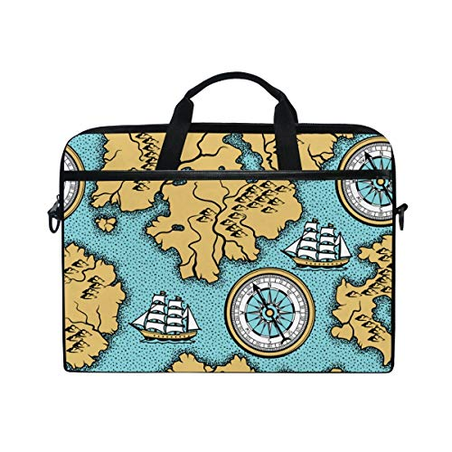 FOURFOOL 15-15.6 inch Laptop Bag,Seamless Pattern Old Nautical Map Islands,New Canvas Print Pattern Briefcase Laptop Shoulder Messenger Handbag Case Sleeve