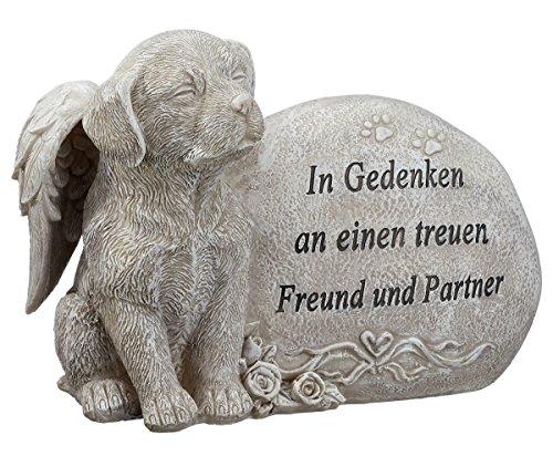 Unbekannt Grabdeko Hund mit Engelsflügeln Spruch Grabstein 17 cm Grau