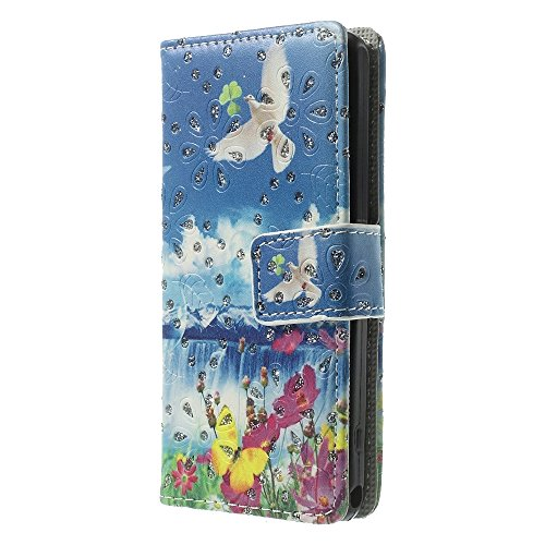 JUJEO Bloem en Duif Poeder Stand Lederen Portemonnee Cover voor Sony Xperia Z1 Compact D5503