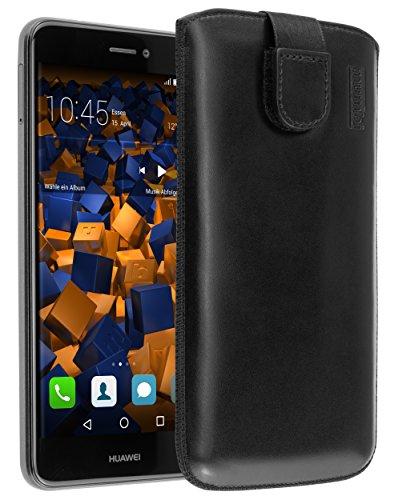 mumbi Echt Ledertasche kompatibel mit Huawei Ascend Y200 Hülle Leder Tasche Case Wallet, schwarz