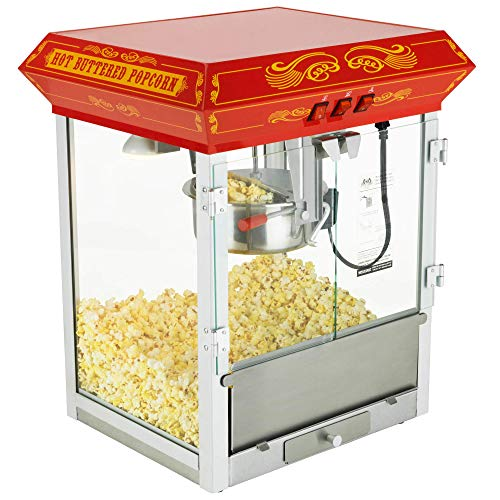 Funtime FT825CR Antique Carnival-Style 8-Ounce Tabletop Hot-Oil Popcorn Popper, Red