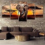 GYSS 5 Pintura 5 Piezas Animal Poster Wall Art Elefantes Carteles E Impresiones Lienzo Pintura Imágenes para Sala De Estar Decoración para El Hogar 5 Panel