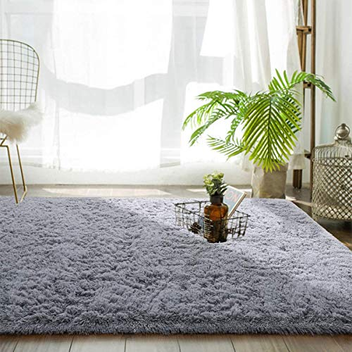 Tinyboy-hbq Area Rugs Large Living Room Carpet Shaggy Modern Plush Indoor Rug Soft and Fluffy Bedroom Rugs Anti Slip Floor Mat Children's Play Mats Suitable for Home Decor(Grey, 185 * 185cm)