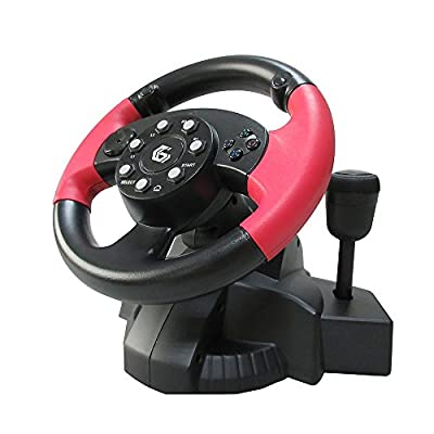 USB Wired Steering Wheel & Pedals with Vibration and gear stick/Racing Wheel with Pedals Controller/For PC DVD, PS3, PS2, Gaming/iCHOOSE