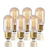 Vintage Edison Bulb 40W E27 Screw Retro Dimmable T45 Light Bulb Filament Amber Glass Decorative Lamp (6 Packs) …