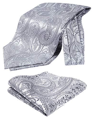 Hisdern Herren Paisley Floral Jacquard gewebt Ascot & Taschentuch Set