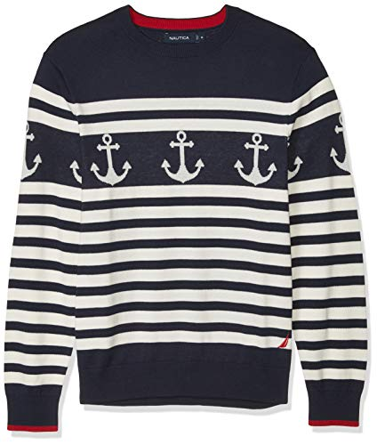 Nautica Men's 100% Cotton Striped Anchor Sweater, Navy, Medium