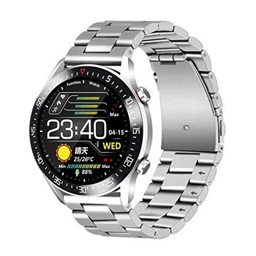 AYZE Smart Watch Uhren Herren 1,3-Zoll-IPS-Bildschirm, 200-mAh-Akku, Aufzeichnung Und Analyse Von Gesundheits-, Schlaf- Und Trainingsdaten, Kamerasteuerung, Stahlband, Sportuhren Herren GPS Silver