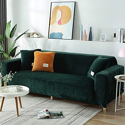 WCPQT Stretch Soft Easy Fit Couch Cover,Elastic Thick Furniture Protection Sofa Covers,Velvet Slipcover,For Loveseat Arm-chair Green 2 Seater