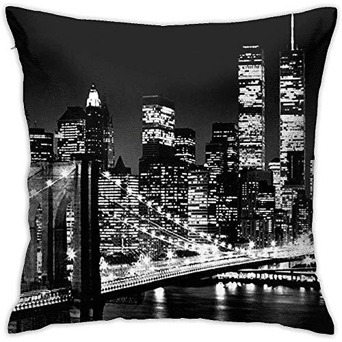 New York City Fodera per Cuscino di tiro Fodera per Cuscino Quadrato Decorativo Quadrato a Doppio Lato Design 45x45cm Famiglia Divano per Auto al Coperto