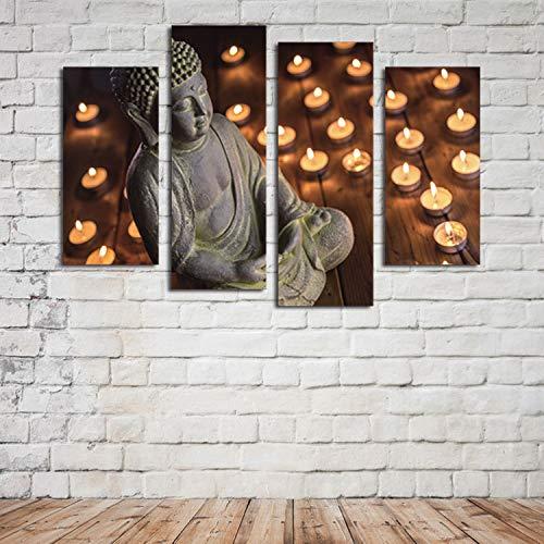 WSNDGWS Home Decoration, inkjet, vier vechten, religieuze kaars, Boeddhabeeld, schilderkunst, zonder fotolijst 20x40cmx2 20x60cmx2 B1.